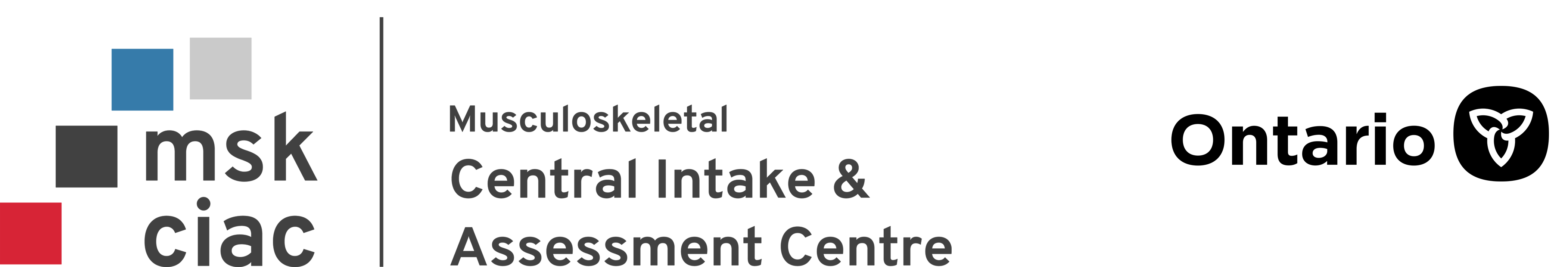Musculoskeletal Central Intake and Assessment Centre program logo with Ontario logo